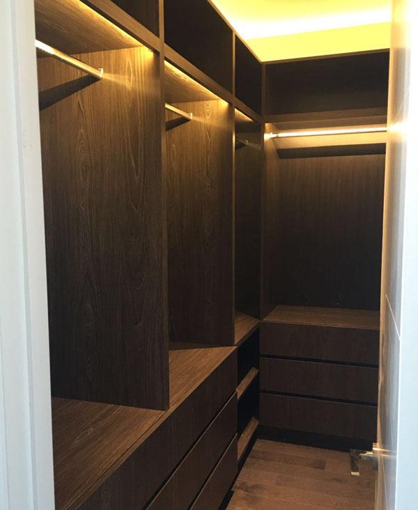 dark woood walk in closet organizer