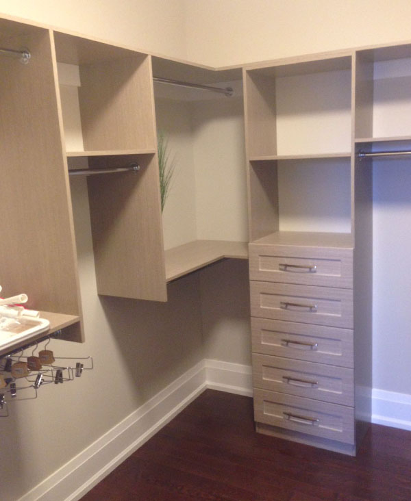 grey wood walk in closet