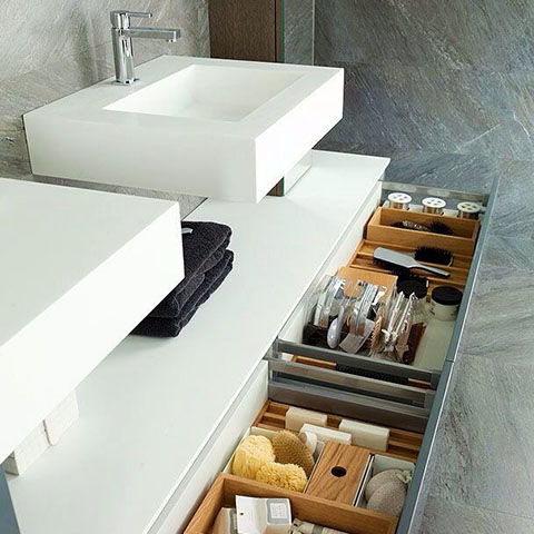 white floating vanity unit