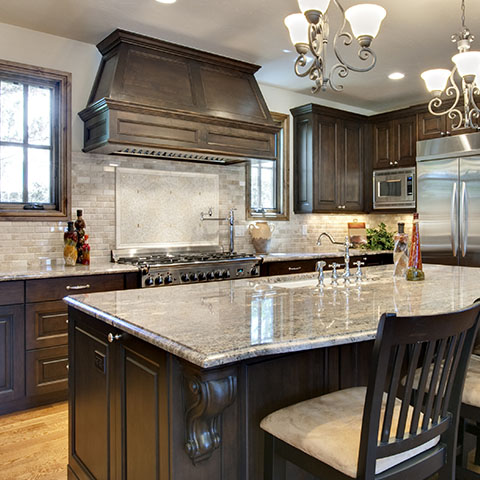 oak wood kitchen cabinets with marble counter top