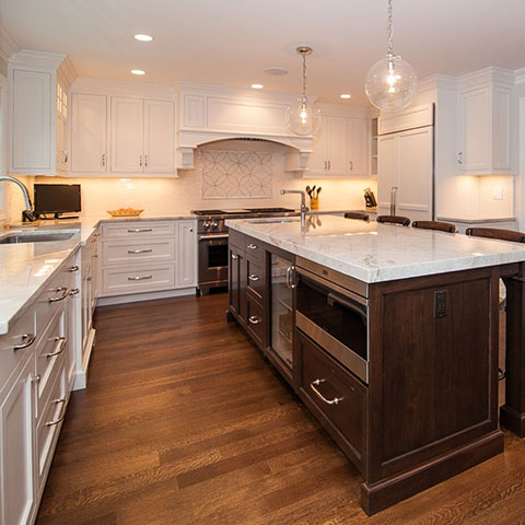 custom kitchen with island and white counter top